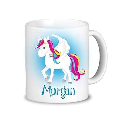 e789b3d7cfa Personalized Unicorn Mug Rainbow Unicorn Cup Dinnerware Blue Unicorn  Ceramic Mug, You Pick Color Kids Name Gift