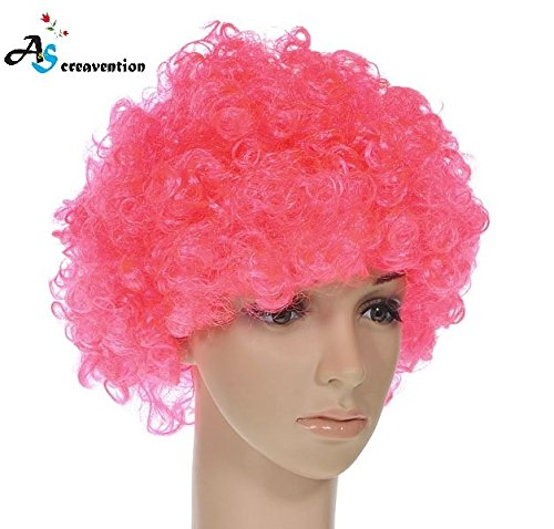 S.P.S Party Clown Disco Wig Make up Accessorie Fake Hair Wear (Pink) (Clown Makeup Styles)