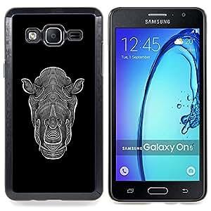 /Skull Market/ - Graphic Art Rhino Black White Ink For Samsung Galaxy On5 SM-G550FY G550 - Mano cubierta de la caja pintada de encargo de lujo -