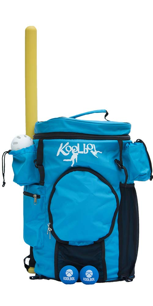 Koolbol Baseball Sports Game Set & Backpack w/Removable Party Cooler Holds 14 Drinks – Outdoor – Yard, Lawn, Beach, Tailgate- Includes Wiffle 32' Bat and Baseball, 2 Bounce Balls, Rule Book.
