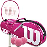 Wilson Triumph Pre-Strung Pink/White Tennis Racquet (4 1/4' Grip) Set or Kit Bundled with a Pink/White Advantage 2-Pack Tennis Racket Bag and a Can of Tennis Balls