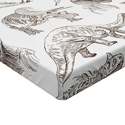 Ambesonne Jurassic Fitted Sheet, Arrangement of Various Dinosaurs Illustrations Skeleton Biology Historic, Soft Decorative Fabric Bedding All-Round Elastic Pocket, Twin Size, Dark Brown
