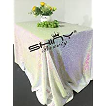 ShinyBeauty 50x50Inch Square Iridescent White Sequin Tablecloth,50x50Inch Tablecloth Perfert for Birthday,for Party,for Wedding)