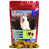Salmon Oil for Dogs – Treats – All-Natural Omega 3 6, DHA, EPA and Fish – Supports Immune System, Heart Health and Shiny Coat – 65 Soft Chews