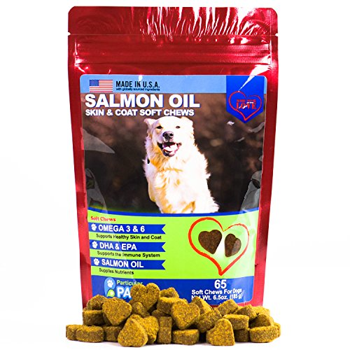 Particular Paws Salmon Oil for Dogs - Treats - All-Natural Omega 3 6, DHA, EPA and Fish - Supports Immune System, Heart Health and Shiny Coat - 65 Soft Chews