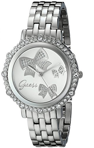 GUESS Women's U0303L1 Bow Inspired Silver-Tone Watch with Genuine Crystal Accents