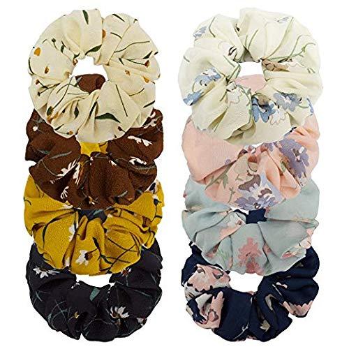 Whavel 8 Pack Large Chiffon Scrunchies Women's Flower Hair Scrunchies Elastics Hair Ties Hair Bow Chiffon Ponytail Holder