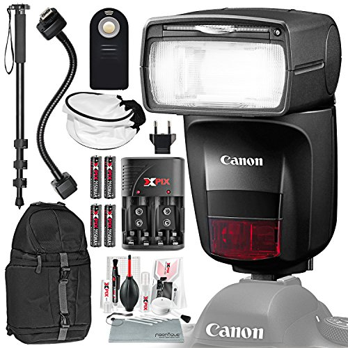 Canon Speedlite 470EX-AI Flash with Professional DSLR Traveler Backpack, Batteries & Charger Kit, Xpix Cleaning Accessories, and Deluxe Photo Bundle