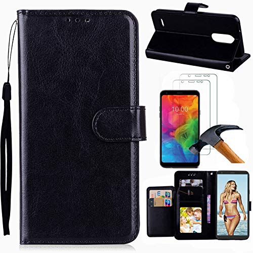 LG Q7 Case, LG Q7 Plus Case, LG Q7 Alpha Case with Screen Protector, I VIKKLY [Kickstand] Magnetic Snap Premium PU Leather Folio Flip Wallet with Card Slots and Wrist Strap Case for LG Q7 (Black)