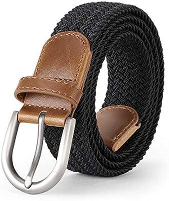 JASGOOD Unisex Men Women Braided Canvas Stretch Belt Elastic Casual Waist Belt