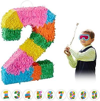 Relaxdays Piñata Cumpleaños Número 2 sin Relleno, Papel, Multicolor, 50,5 x 35,5 x 7,5 cm, (10025189_904)