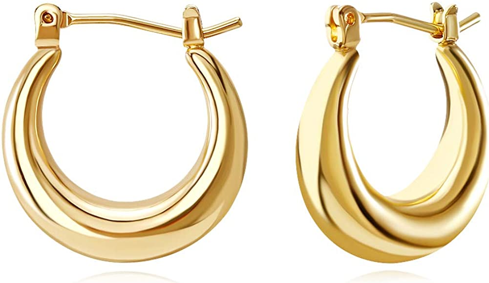FAMARINE 18K Gold Plated Chunky Small Hoop Earrings, Dainty Minimalist Open Hoops Earrings For Women Gift