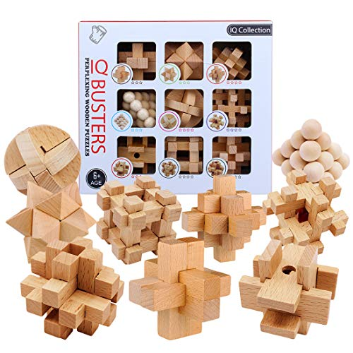 HMANE 9Pcs Wooden Brain Teaser Puzzle, IQ Test Toy, Kong Ming Lock Puzzle Disentanglement Puzzles Toy Unlock Interlock Game for Kids Adults