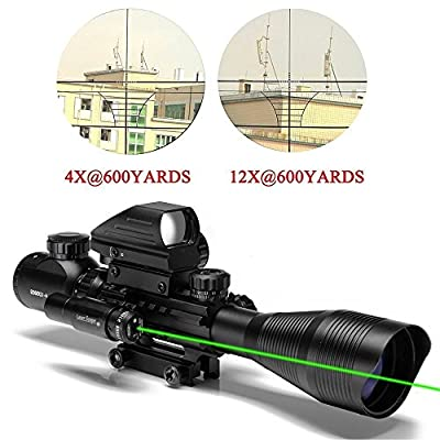 Uboo 3 in 1 AR15 Tactical Rifle Scope Combo 4-12x50EG Dual Illuminated Holographic 4 Reticle Red and Green Dot Sight + Green Laser(12 Month Guarantee)