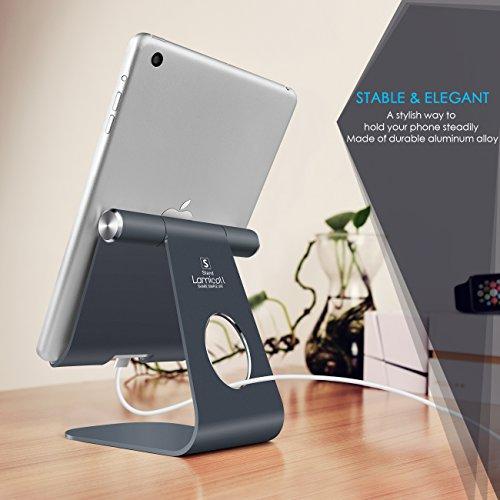 Supporto Tablet, Lamicall Supporto Regolabile : Universale Stand Dock per 2018 Pad Pro 10.5, Pro 9.7, Pro 12.9, Pad mini 2 3 4, Pad Air, Air 2, Phone, Samsung Tab, altri Tablets – Grigio