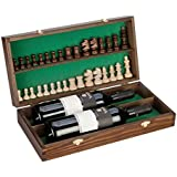 Double Bottle, Wooden Luxury Gift Box for Wine, Champagne or Whisky with Wooden Chess Set by The Real Wood Wine Racks
