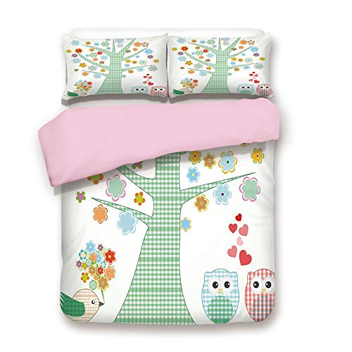 Pink Duvet Cover Set,Twin Size,Romantic Owls In Love and Big Tree with Colorful Blossoms Bird Bouquet Decorative,Decorative 3 Piece Bedding Set with 2 Pillow Sham,Best Gift For Girls Women,Mint Green