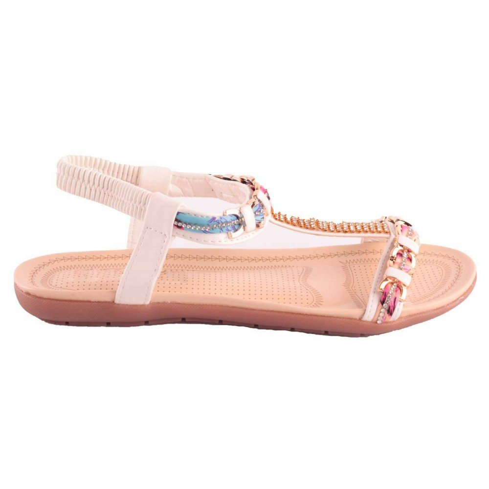 41615e00bd2025 Sandale Blanche Strass Femme Grande Taille Pointure 41 à 44 avec chaîne doré  & Motif Fantaisie-: Amazon.fr: Chaussures et Sacs