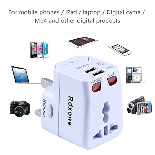Rdxone Universal World Travel Adapter with 2 USB- Europe, Italy, Ireland, UK, US Plug Adapter- Over 150 Countries& Travel Power Converter Adapter Wall Charger Plug Kit for iPhone, Android (White) Photo #6