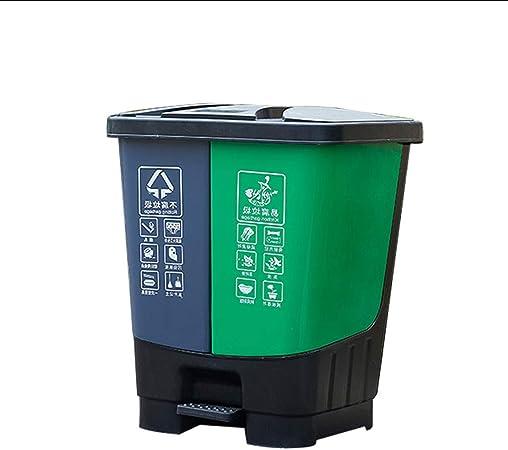 Papelera de Reciclaje Doble Papelera de Doble Compartimiento Oficina/Jardín al Aire Libre Bote de Basura de plástico, 35 litros / 9.2 galones (Capacity : 35L, Color : Green): Amazon.es: Hogar