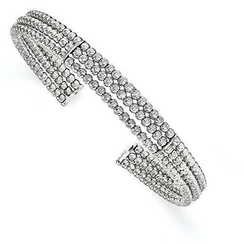 Sterling Silver Rhodium-plated 3-strand Beaded Adjustable Bangle by CoutureJewelers