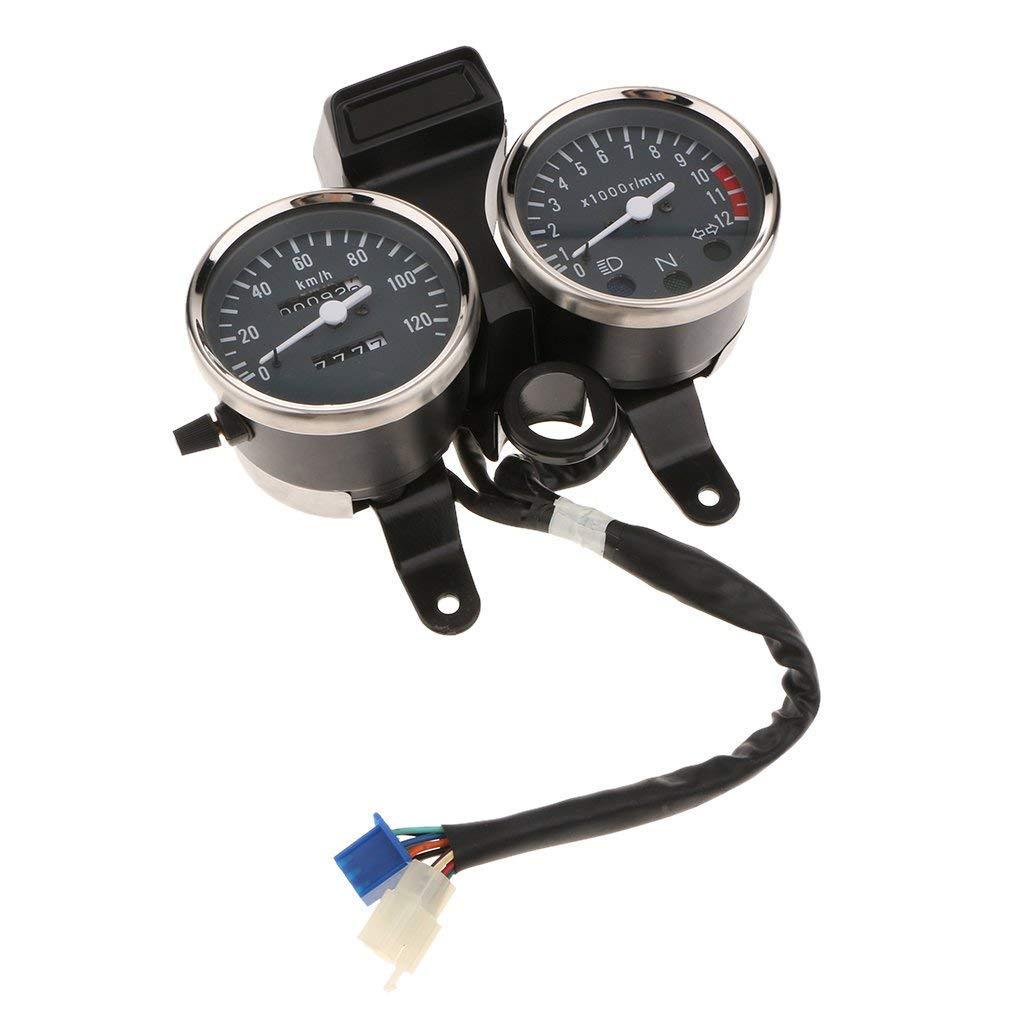 Elerose Universal Circle Speedometer Motorcycle LCD Digital Dual Tachometer Odometer
