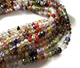 5 Strands Wholesale Multi Colored Cubic Zirconia Faceted Beads,4mm Micro Faceted Rondelle Beads,14 Inch
