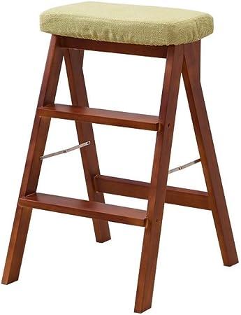 Taburete Step Home Taburete, escalera de madera para adultos Cocina Plegable de madera maciza Escalera de 3 escalones Taburete plegable plegable Banqueta de taburete pequeña multifunción, color nogal: Amazon.es: Hogar