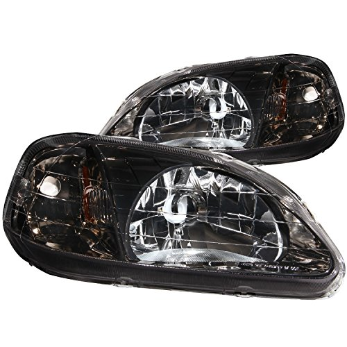Anzo USA 121234 Honda Civic Gun-Metal Crystal Clear Headlight Assembly - (Sold in Pairs)