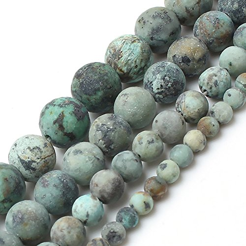 Unpolished African Turquoise Stone Beads 8 mm Round Loose Jewelry Making