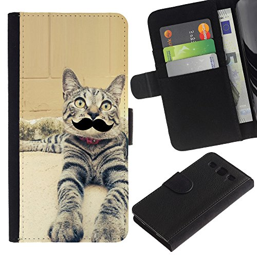 EuroCase - Samsung Galaxy S3 III I9300 - egyptian mau serengeti moustache cat - Cuero PU Delgado caso cubierta Shell Armor Funda Case Cover