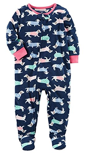 Price comparison product image Carter's Girls' 1-Piece Footed Sleeper Fleece Pajamas (Blue Dogs, 2T)