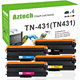 Aztech 4 PK Standard Yield Compatible for Brother TN431 TN-431 MFC L8900CDW Toner Cartridge for Brother MFC-L8900CDW HL-L8360CDW HL-L8360CDWT HL-L8260CDW Business Color Laser All-in-One Printer (KCMY)