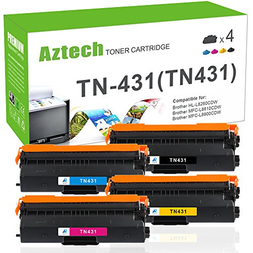 Aztech 4 PK Standard Yield Compatible for Brother TN431 TN-4