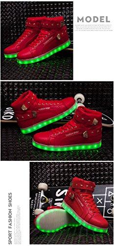 Honeystore High Unisex Schuhe Kinder Erwachsene Top Rot Leuchtend Sportschuhe USB Sneakers Herren fuer Aufladen Schuhe Turnschuhe Farbe Damen Freizeit 7 8rn18pSq6