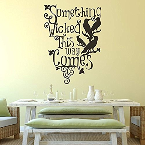 AmericanVinylDecor Halloween Wall Decor-Something Wicked This Way Comes with Ravens Art Sticker Party Room DecorationMedium