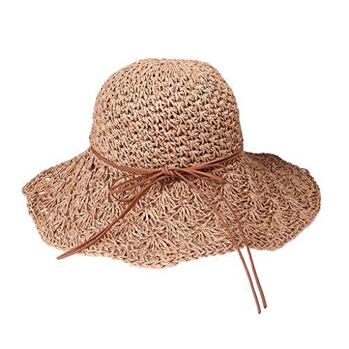 (Geetobby Women's Big Brim Sun Hat Lightweigh Foldable/Packable Bowknot Straw Hat Summer Beach Hat)