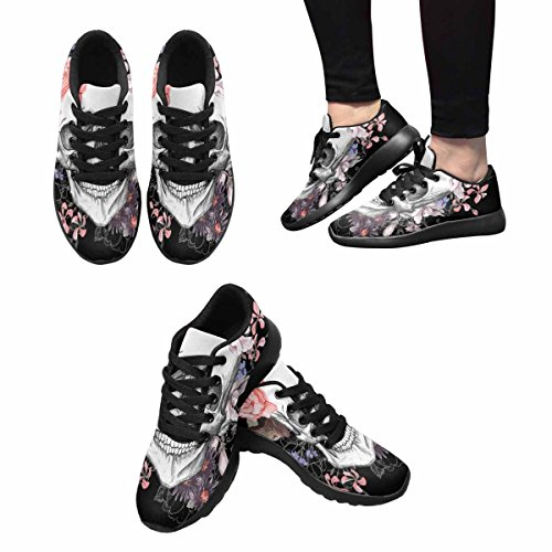 InterestPrint Womens Trail Running Shoes Jogging Lightweight Sports Walking Athletic Sneakers Skull and Flowers Day Of The Dead, Vintage Multi 1