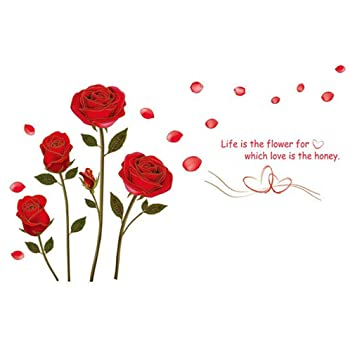 111874ec5 Amazon.com  Wall Decal Red Rose Flowers Leaves Home Sticker Paper Removable  Living Dinning Room Bedroom Kitchen Art Picture Murals DIY Stick Girls Boys  kids ...