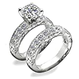 Venetia Supreme Realistic 2 Carat Art Decor Hearts and Arrows Cut Simulated Diamond Ring Band Set Solid 925 Silver Platinum Plated Wedding Engagement cubic zirconia cz vic9