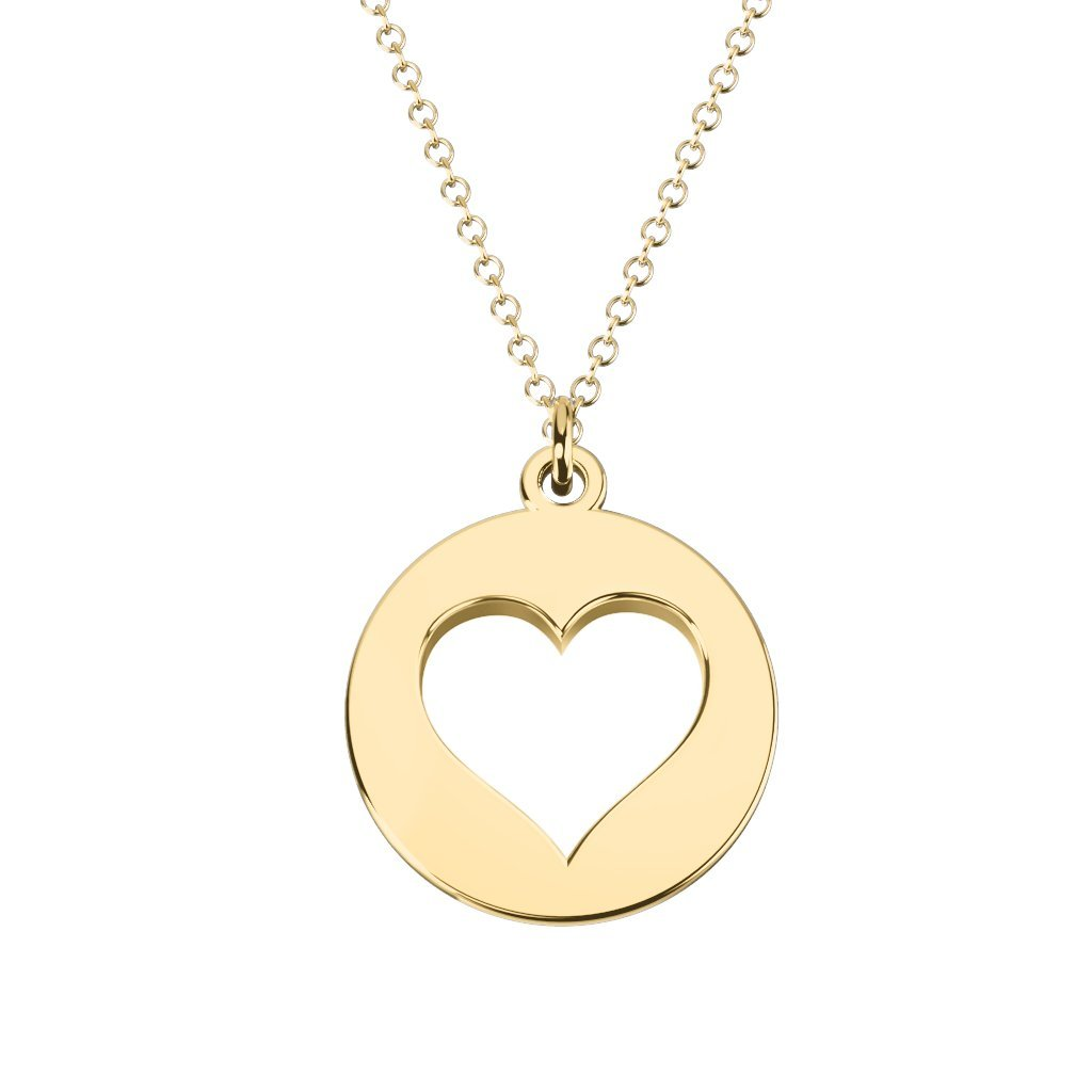 10K Gold Shape Of My Heart Cutout Disc Necklace by JEWLR