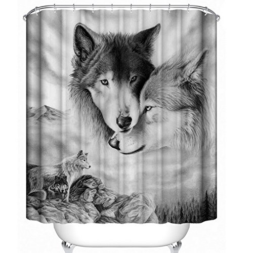 KRWHTS Bear forest nature Design stall mildew resistant Waterproof Bathroom Fabric Shower Curtain (34, 180x180cm(72