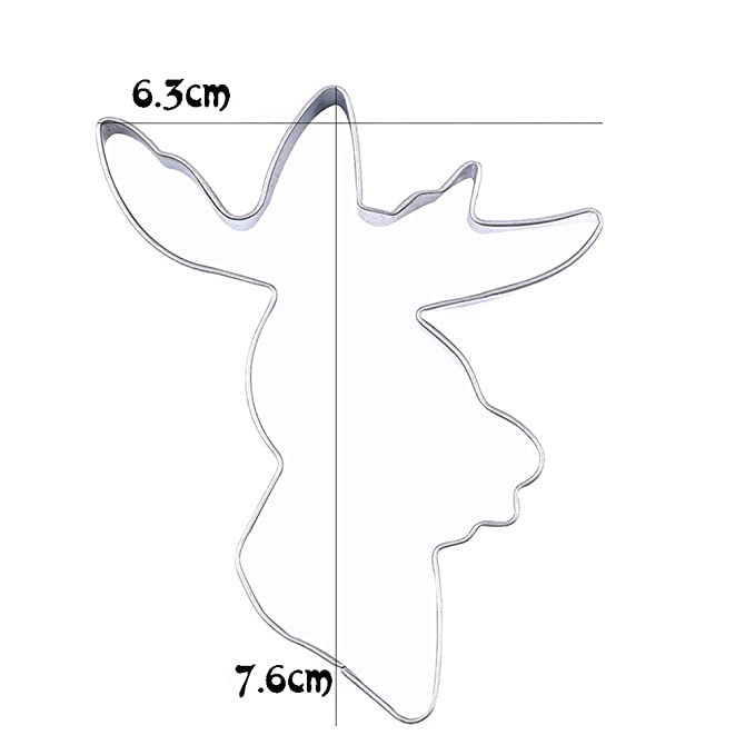 Ferrell Cake Cookie Mold Cutter Deer Head Reno de Acero Inoxidable DIY Fondant Molde de Cocina: Amazon.es: Hogar