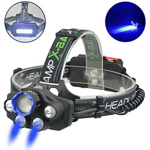 X-BALOG LED Headlamp With Blue Light- Headlight Flashlight USB Rechargeable - Waterproof 6000 Lumens 5-Lamp 5 Mode Super Bright for Outdoor, Camping, Fishing