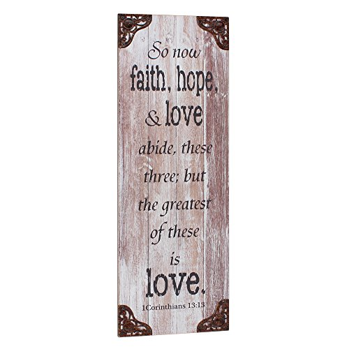 Stonebriar Rustic Decorative Worn White Painted Corinthians 13 13 Wall Art With Metal Trim  Religious Wall Decor  Gift Ideas For Friends And Family