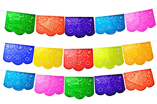 Fiesta Brands 50 Panel Pack. Mexican Papel Picado Banner.Colores de Primavera.Over 75 feet Long for Maximum Coverage. Vibrant Colors Tissue Paper. Medium Size Panels. Multicolored Flowers Design for $<!--$27.95-->