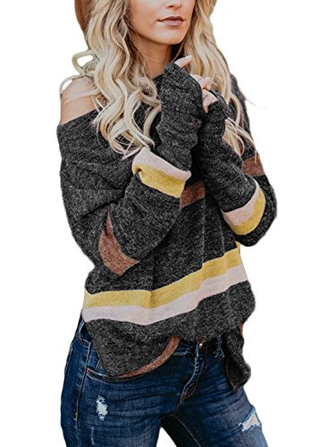 Astylish Womens Ladies Sexy Loose Color Block Breathable Off Shoulder Knitted Sweaters Pullover Side Slit Wide Neck Work Striped Knit Pullover Sweater Top Small 4 6 Grey
