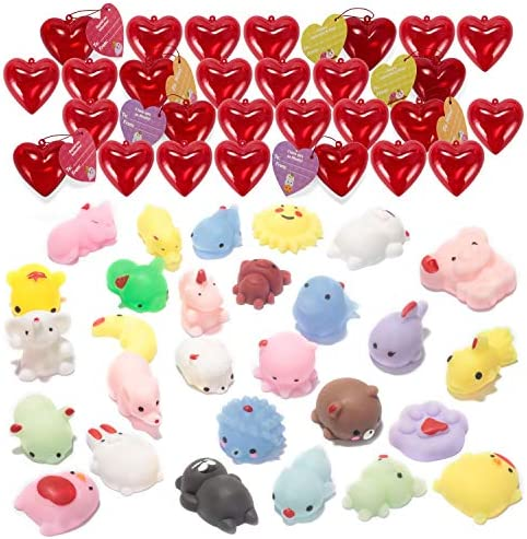 28 Pack Valentine Gifts for Kids Party Favors Set 30 Valentines Day Cards for Kids 28 Silicon Rubber Bands Wristbands Filled Hearts and 60 Heart Stickers for Classroom School Exchange Party Favors Game Prizes and Carnivals Gift