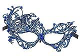 Coolwife Women's Venetian Crochet Ball Lace Masquerade Mask Halloween Fashion (Swan Royal Blue with Bead)