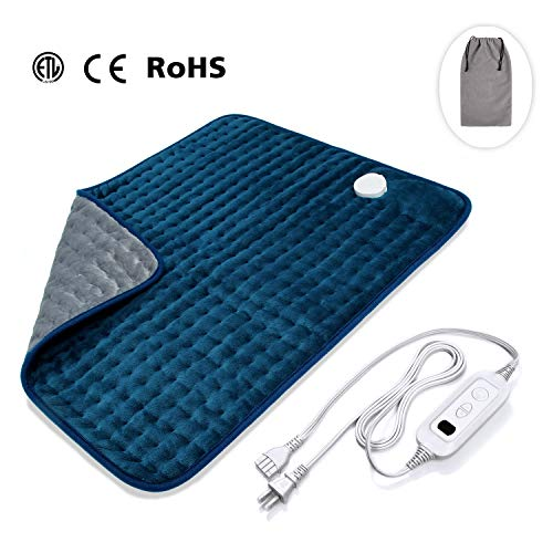 Veken Electric Heating Pad with Fast-Heating Technology, Moist Dry Heat, Auto-Off and Machine Washable, XXL Ultra-Soft Heat Therapy Pad for Cramps/Back/Knee/Neck and Shoulders(20 x 24, Blue?